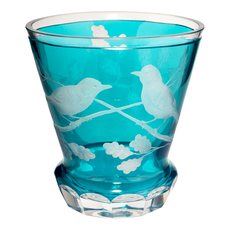 Country Style Hand Blown Vase Birds Decor Blue Glass Sofina Boutique Kitzbuehel