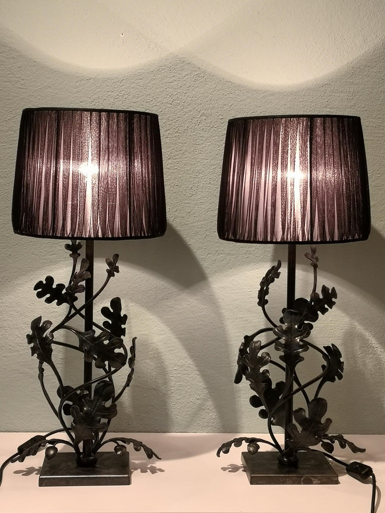 Country Style Pair of Table Lamps Handmade Iron Sofina Boutique Kitzbuehel For Sale 1