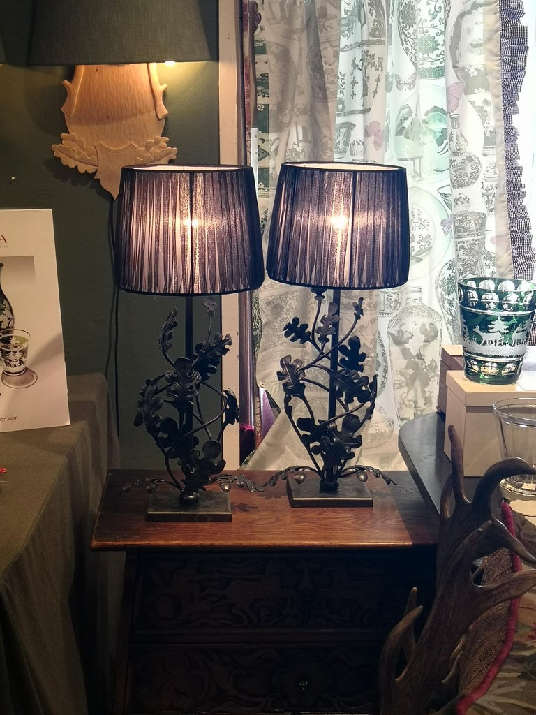 Country Style Pair of Table Lamps Handmade Iron Sofina Boutique Kitzbuehel For Sale 2