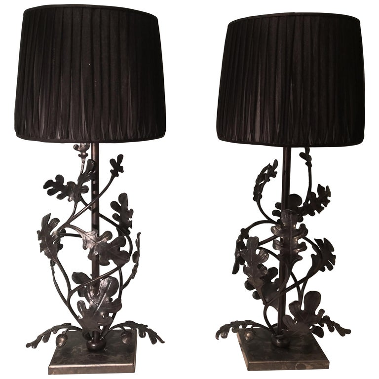 Country Style Pair of Table Lamps Handmade Iron Sofina Boutique Kitzbuehel For Sale