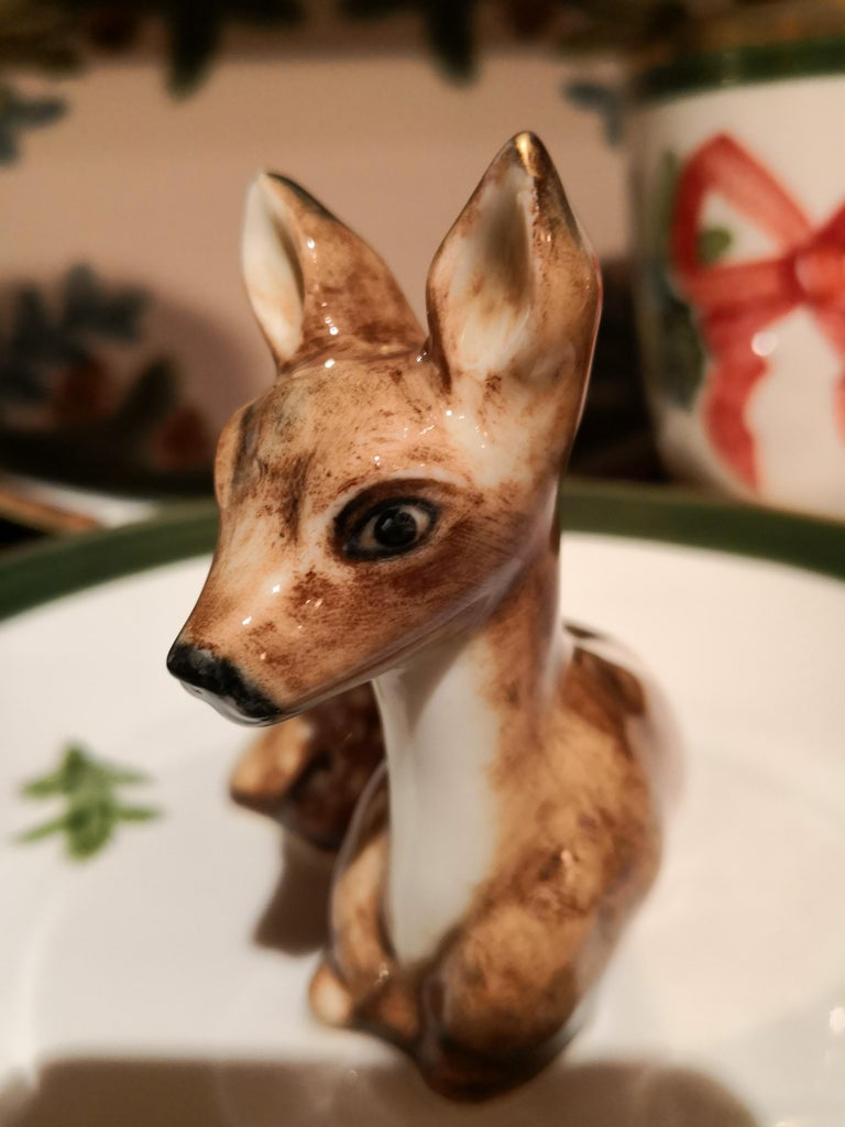 German Country Style Porcelain Bowl with Bambi Figure Sofina Boutique Kitzbuehel For Sale