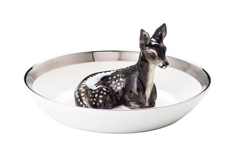 Hand-Painted Country Style Porcelain Bowl with Bambi Figure Sofina Boutique Kitzbuehel For Sale