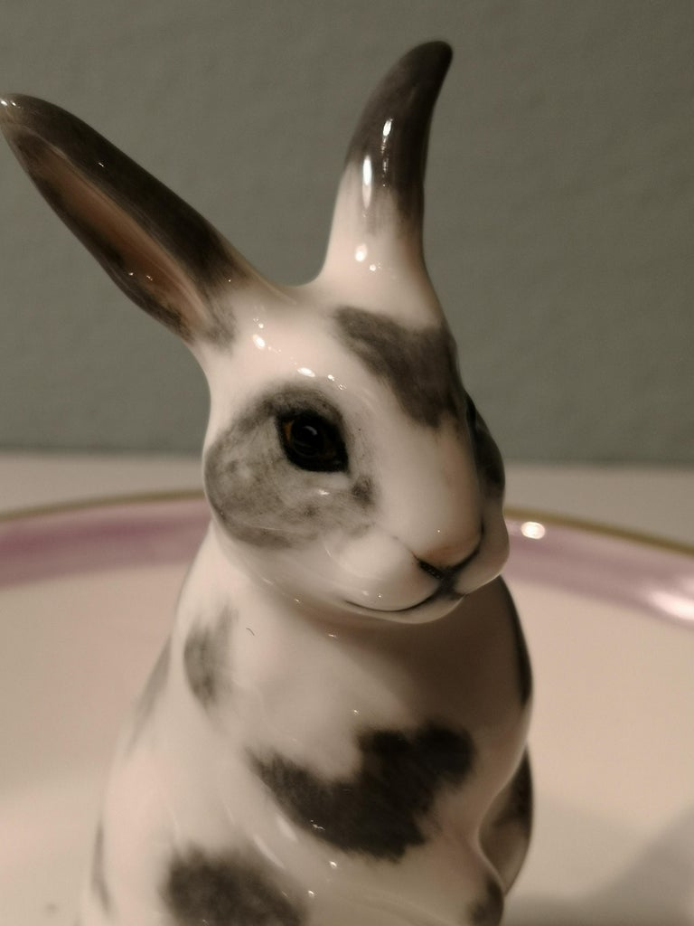 Hand-Painted Country Style Porcelain Bowl Easter Bunny Figure Sofina Boutique Kitzbuehel For Sale
