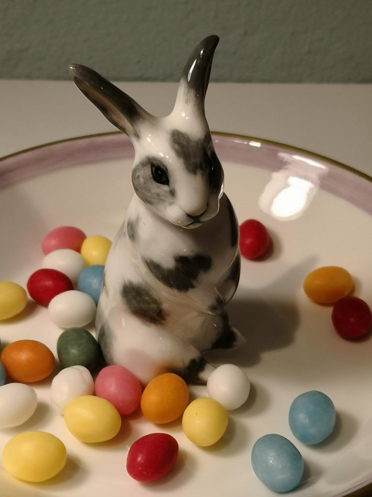 Contemporary Country Style Porcelain Bowl Easter Bunny Figure Sofina Boutique Kitzbuehel For Sale