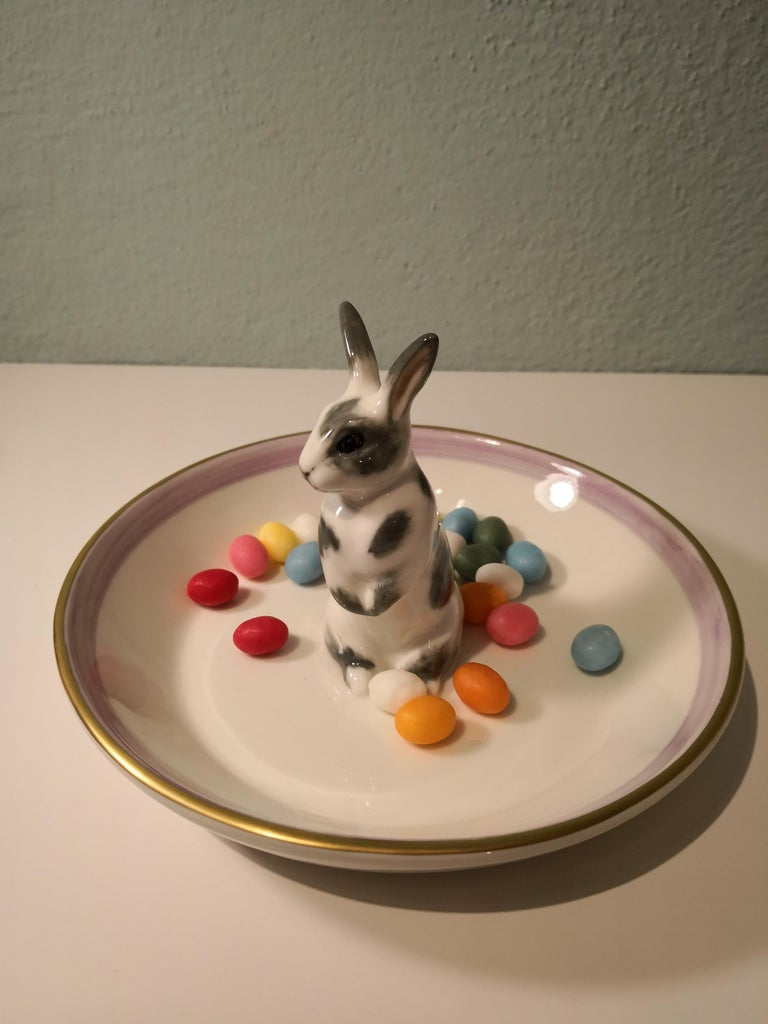 Country Style Porcelain Bowl Easter Bunny Figure Sofina Boutique Kitzbuehel For Sale 1