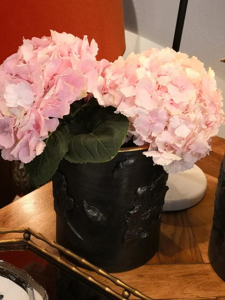 Country Style Pottery Vase Black Handmade Sofina Boutique Kitzbuehel For Sale 2