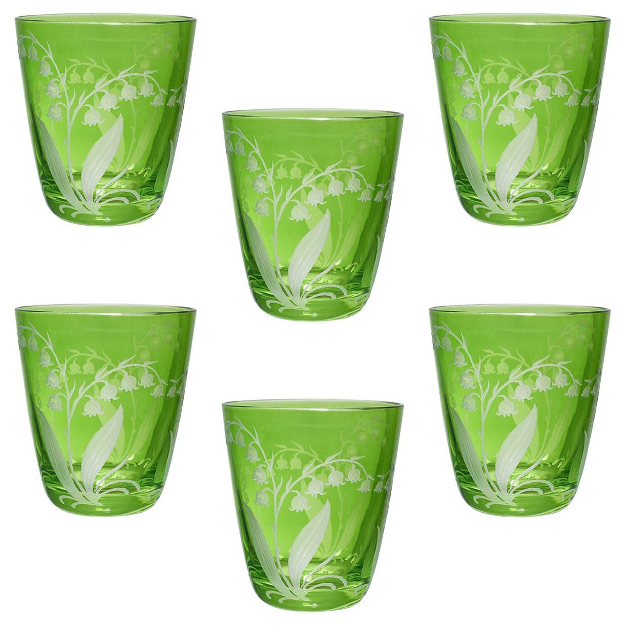 Country Style Set of Six Glass Tumbler Green Sofina Boutique Kitzbuehel