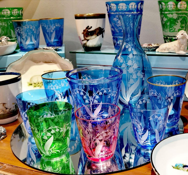 Country Style Set of Six Glass Tumbler Blue Sofina Boutique Kitzbuehel For Sale 5
