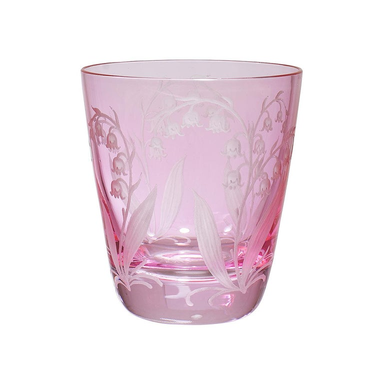 Set of six hand blown tumbler in pink crystal with a hand-edged country style decor. The decor shows a hand-engraved decor lily of the valley all-over the glass. Handmade in Bavaria/Germany. Can be ordered in different colors like pink, green and