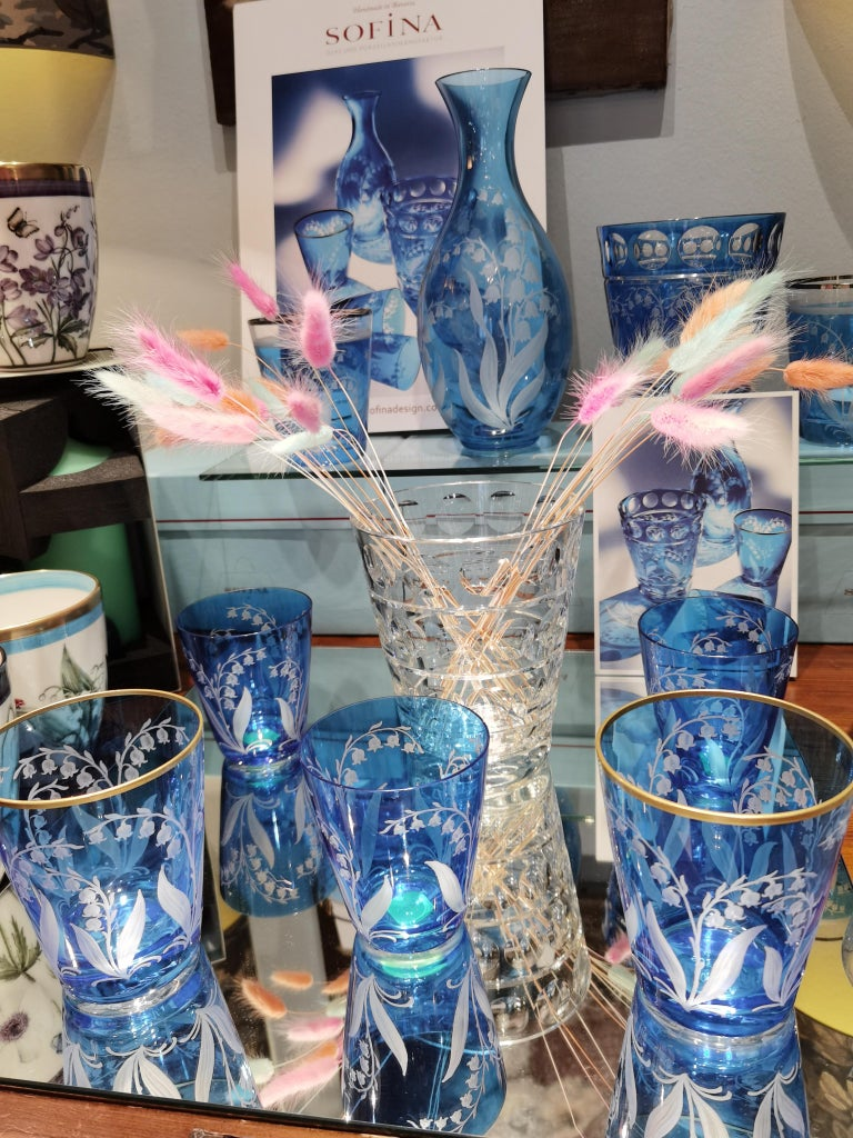 Hand-Crafted Country Style Set of Six Glass Tumbler Blue Sofina Boutique Kitzbuehel For Sale