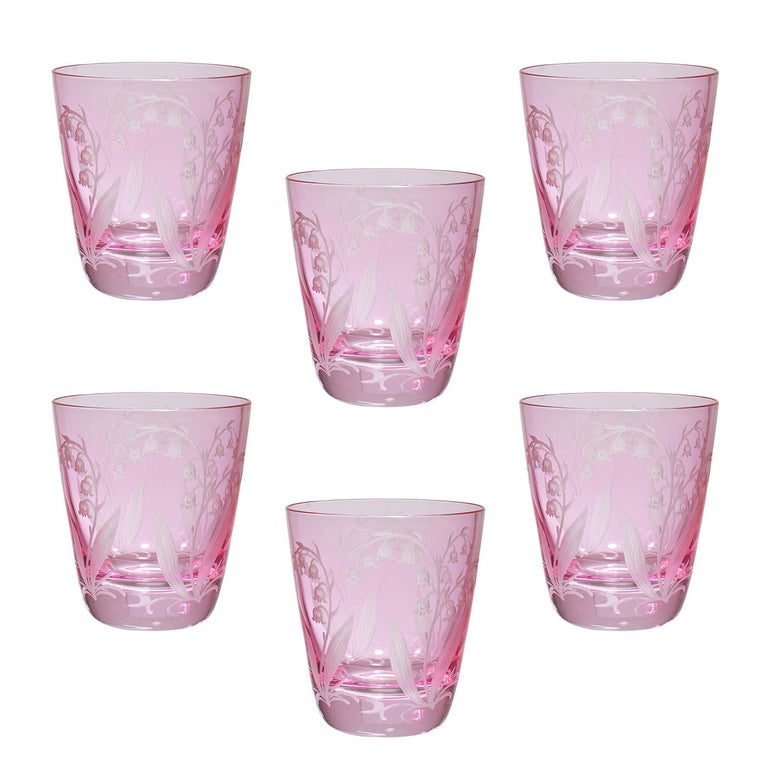 Contemporary Country Style Set of Six Glass Tumbler Blue Sofina Boutique Kitzbuehel For Sale