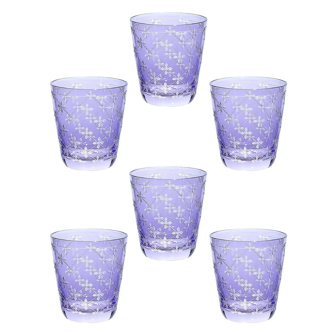 Country Style Set of Six Glass Tumbler Purple Sofina Boutique Kitzbuehel