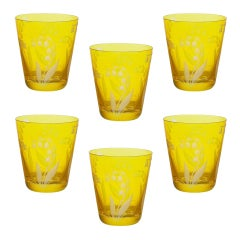 Country Style Set of Six Glass Tumbler Yellow Sofina Boutique Kitzbuehel