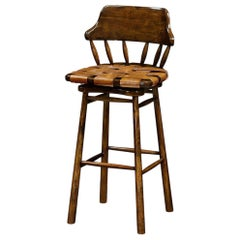 Country Walnut and Leather Bar Stool, 43