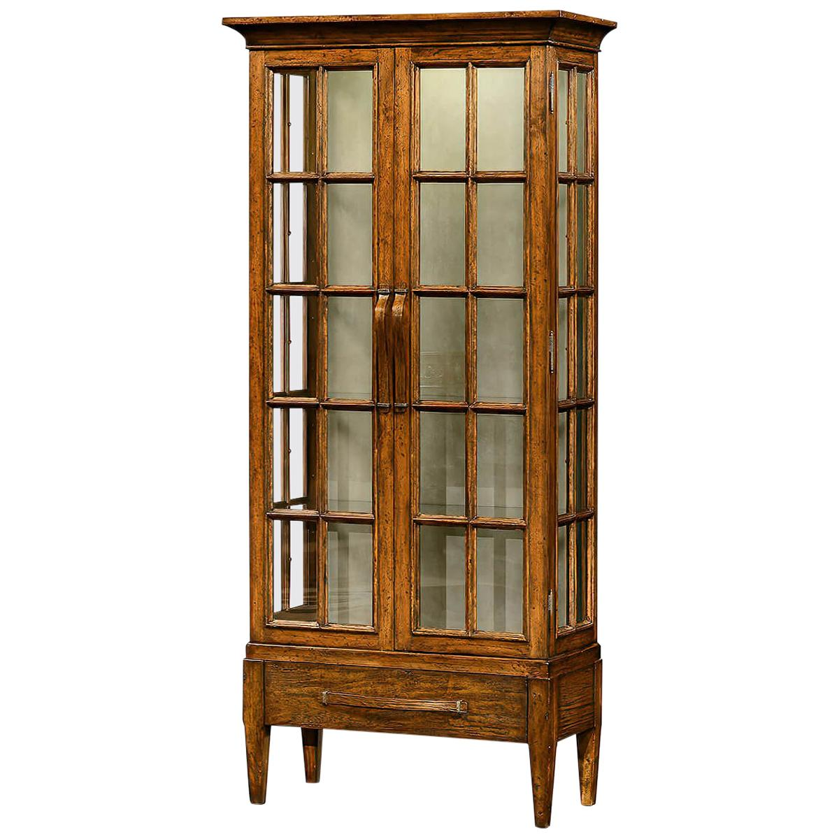 Country Walnut Display Cabinet