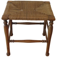 Country Wooden Stool with Woven Seat, 1900s