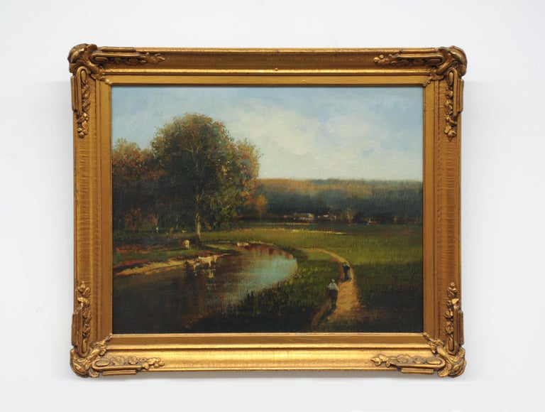 Appealing landscape oil painting by Donald Roy Purdy (1924-2016). Painting is oil on board and framed.