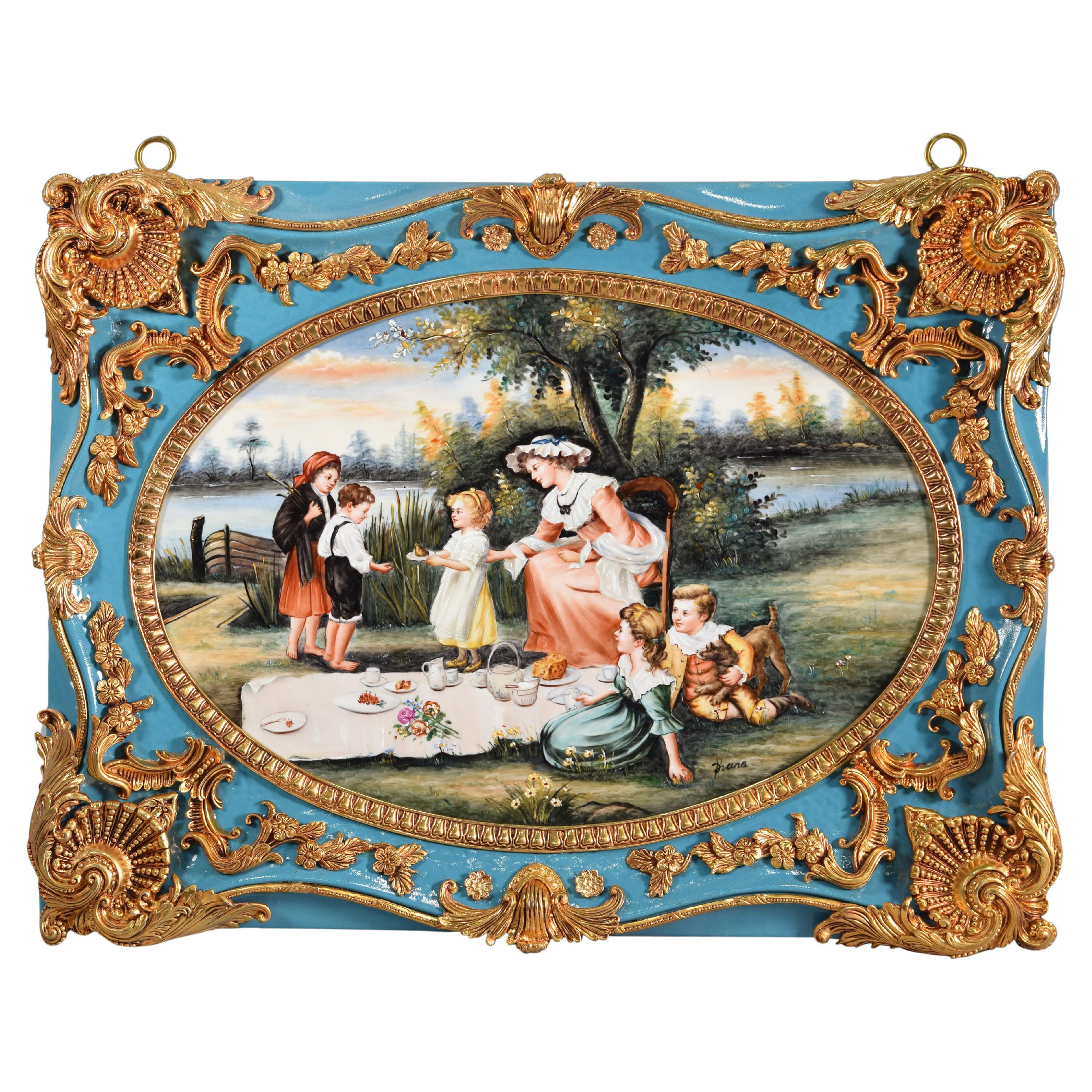 Countryside Scene, Oil on Porcelain