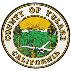 County of Tulare California Truck Door Porcelain Sign
