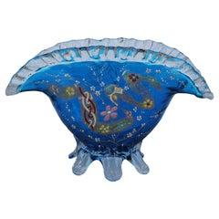 Coupe Blue Fan Art Nouveau Enamelled Glass Gilt Art Nouveau Vase