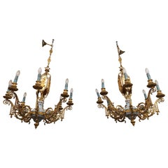 Couple Classic Chandelier 8 Lights in Bronze and Porcelain