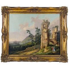 Couple in Romantic Landscape, Oil on Canvas by Joseph Farington