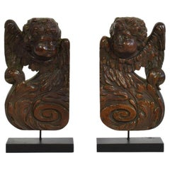 Couple of 17th/ 18th Century French Baroque Wooden Ornaments with Angels