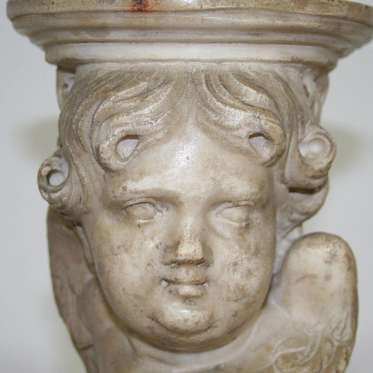 Couple of 17th-18th Century Italian Marble Angels For Sale 12