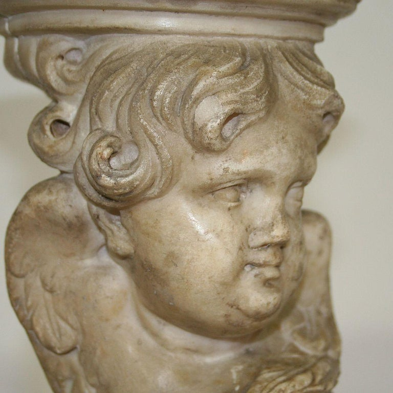 Couple of 17th-18th Century Italian Marble Angels For Sale 14