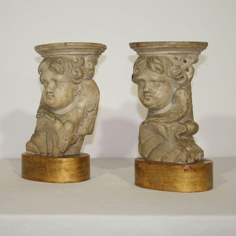 Baroque Couple of 17th-18th Century Italian Marble Angels For Sale
