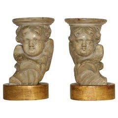 Couple of 17th-18th Century Italian Marble Angels