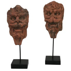 Couple of 17th-18th Century Italian Terracotta Mascarons / Head Ornaments