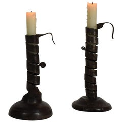 Couple of 18th Century Adjustable Spiral Candlesticks, Rat De Cave