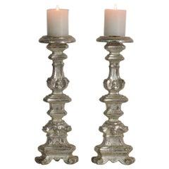 Couple of 18th Century Italian Baroque Silvered Candlesticks