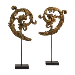 Couple of 18th Century Italian Carved and Gilded Baroque Wooden Curls