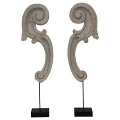 Couple of 18th Century Italian Carved Baroque Wooden Curls