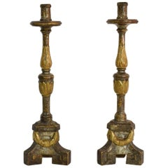 Couple of 18th Century Italian Neoclassical Silvered and Gilded Candlesticks