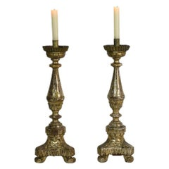 Couple of 18th Century Italian Neoclassical Silvered Candlesticks