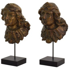 Couple of 19th Century French Baroque Style Carved Wooden Busts