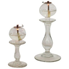 Couple of 19th Century French Glass Weaver Oil Lamps