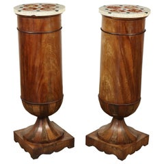 Couple of Columns with Marble Counters Mahogany, Italy, 19th Century