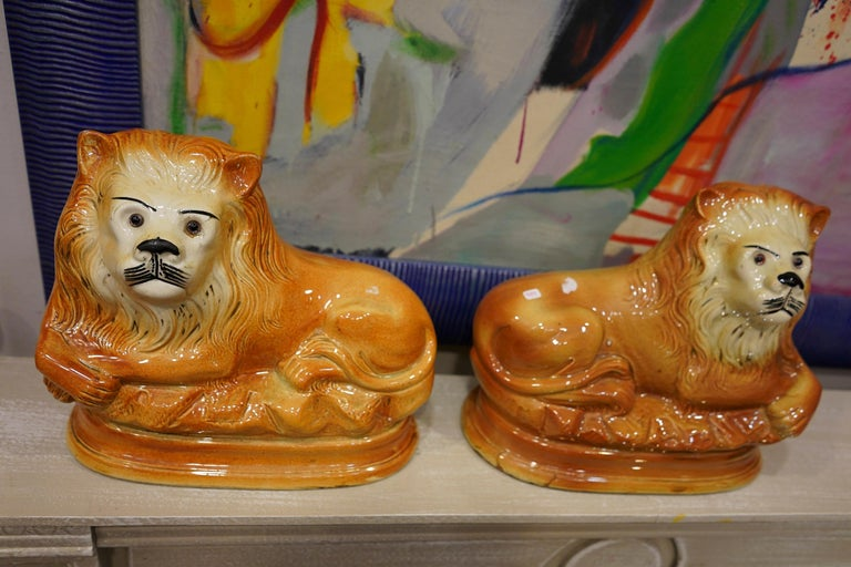 Couple of English Cinnamon Ceramic Lions Staffordshire Manufacture, Crystal Eyes For Sale 5