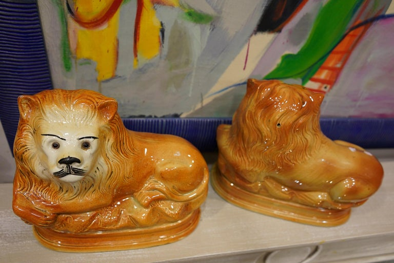 Couple of English Cinnamon Ceramic Lions Staffordshire Manufacture, Crystal Eyes For Sale 7
