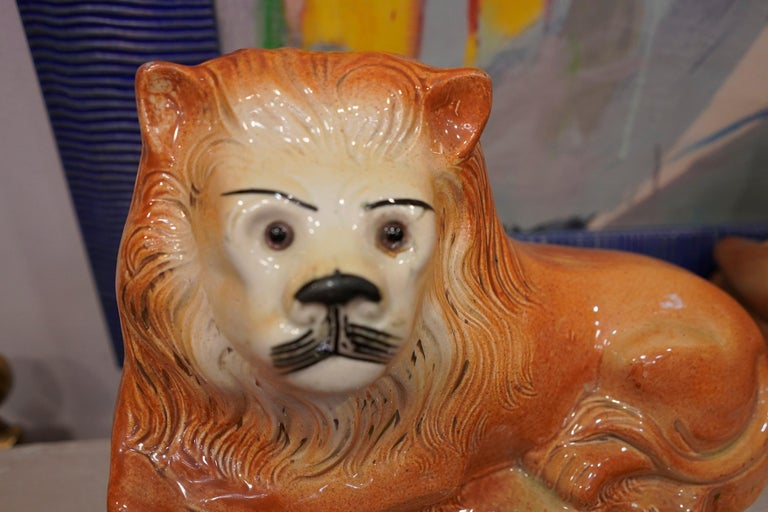 Couple of English Cinnamon Ceramic Lions Staffordshire Manufacture, Crystal Eyes For Sale 9