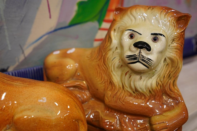Couple of English Cinnamon Ceramic Lions Staffordshire Manufacture, Crystal Eyes For Sale 11
