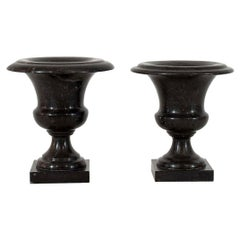 Couple of French 19th Century Black Marble Vases or Urns