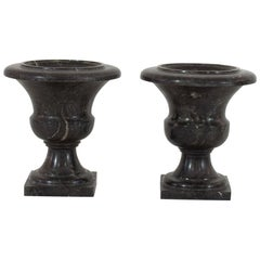 Couple of French 19th Century Black Marble Vases/Urns