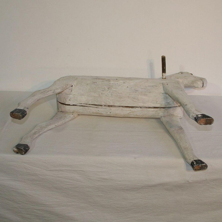 Couple of French 19th Century Painted Wooden Horses For Sale 8