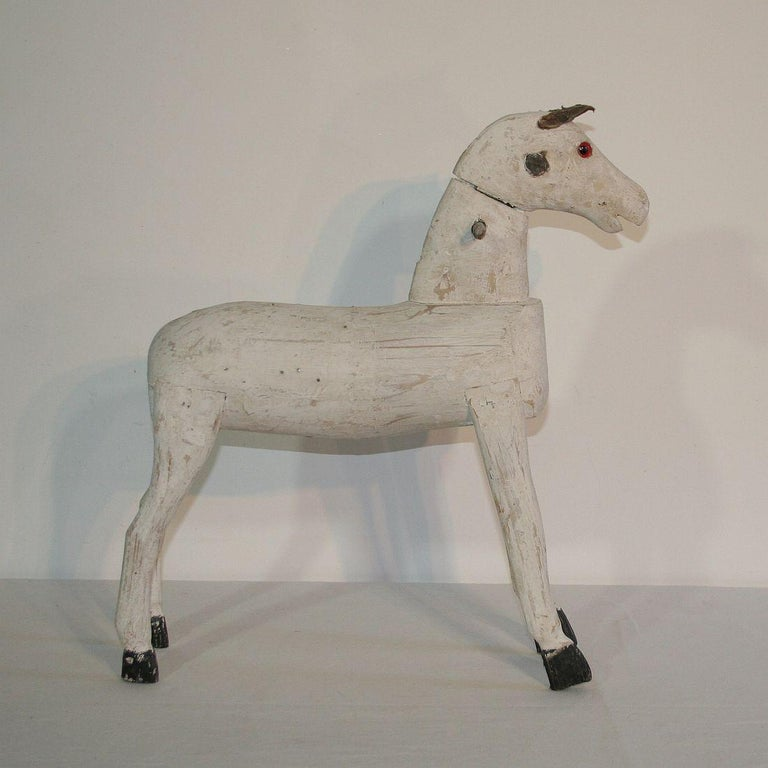 Couple Of 19th Century French Painted Wooden Horses For Sale 7