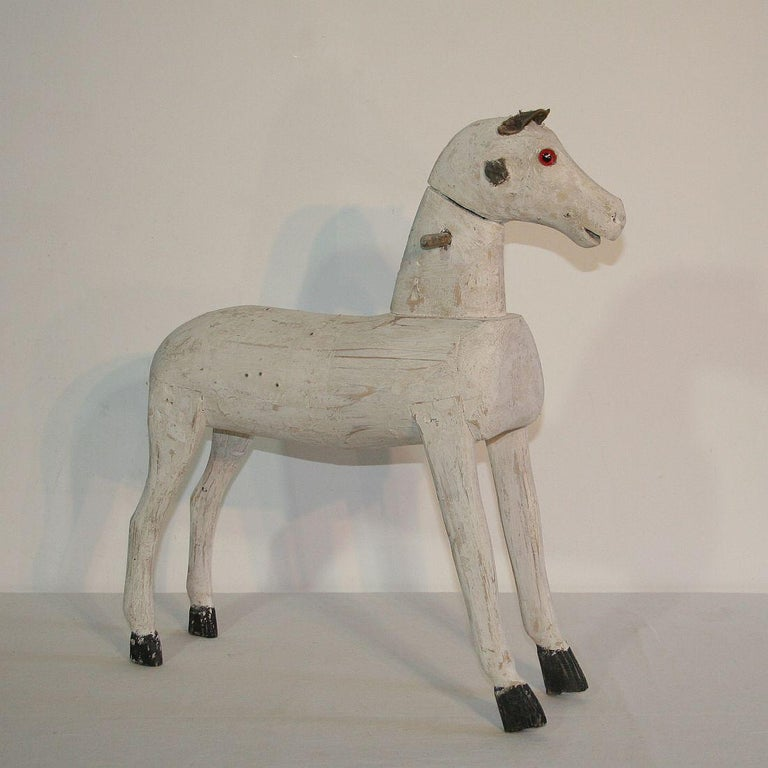Couple of French 19th Century Painted Wooden Horses For Sale 10